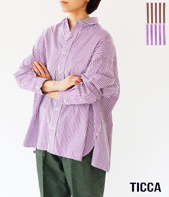 [TICCA]ティッカ スクエアビッグシャツ(ストライプ) TBKA-151