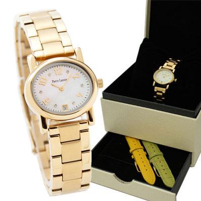 ピエールラニエ オーバル型チェンジャブルウォッチ ゴールド レディース 腕時計 交換簡単 替えベルト2本付き BOXセット 防水 P849502