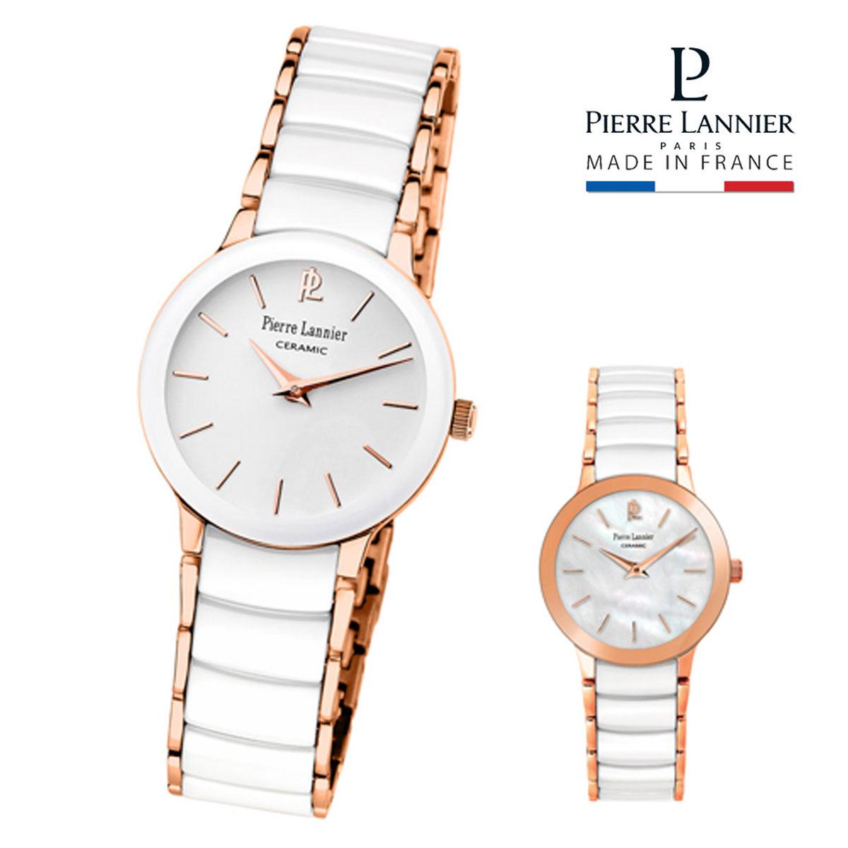 ピエールラニエ セラミック ウォッチ P014Gモデル ピンクゴールド レディース腕時計 セラミック ステンレス シェル文字盤 丸型 防水p014g990 p014g900