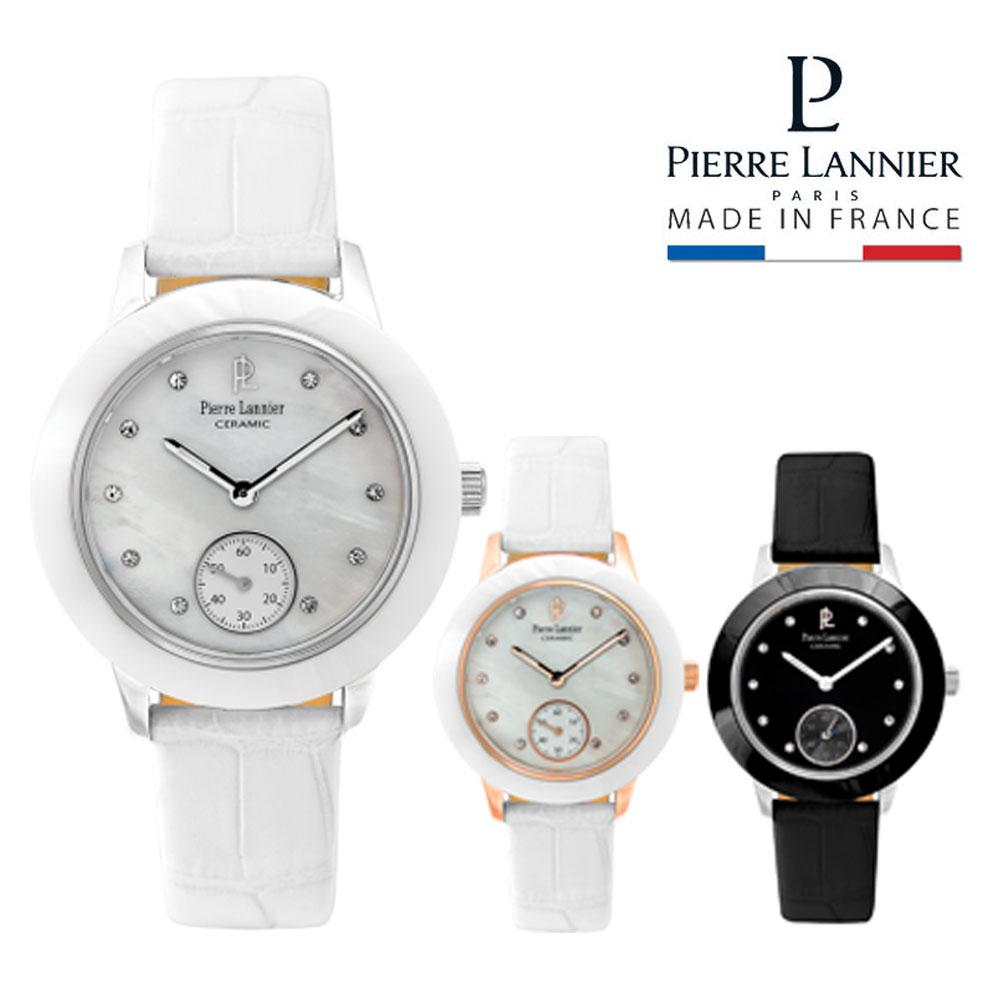ピエールラニエ セラミックレザーウォッチ レディース腕時計 ストーンつき きらきら 丸型p062j690 p063f990