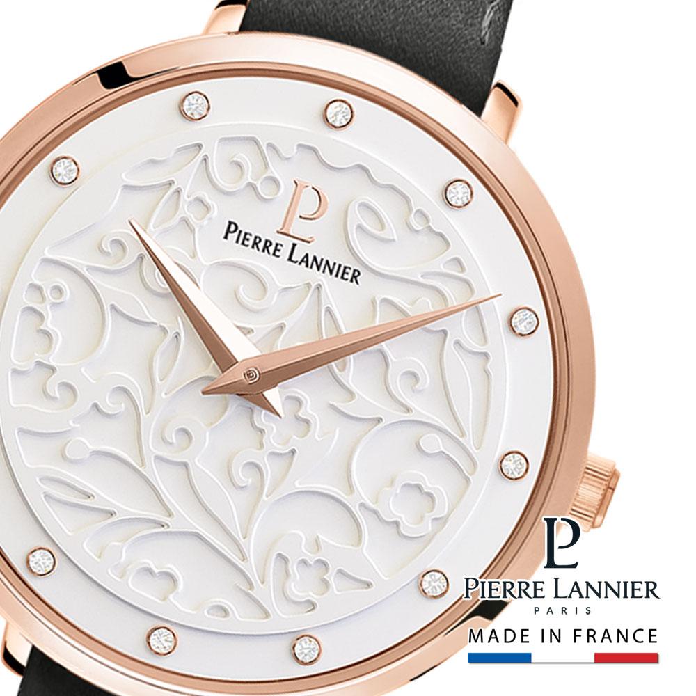 腕時計 レディース ブランド ピエールラニエ エオリアレザーベルト グレー ギフト 革ベルト フランス フラワー 可愛い きらきら 防水 丸型 p041k609 パリで人気 誕生日 プレゼント ギフト 記念日 入学祝 父の日 母の日