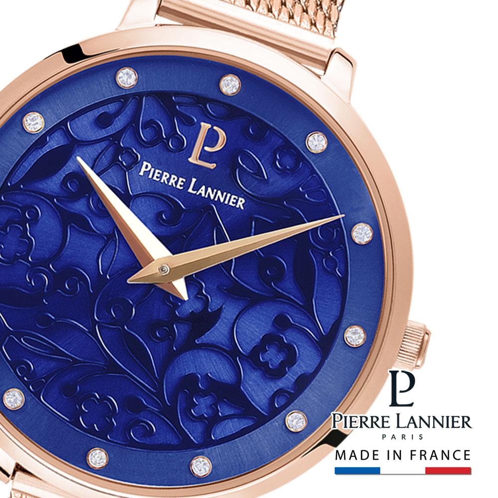 腕時計 レディース ブランド ピエールラニエ エオリア メッシュベルト ウォッチ ネイビー ピンクゴールド フランス フラワー 可愛い 防水 丸型 ギフトp039l968 人気 誕生日 プレゼント ギフト 記念日 入学祝 父の日 母の日