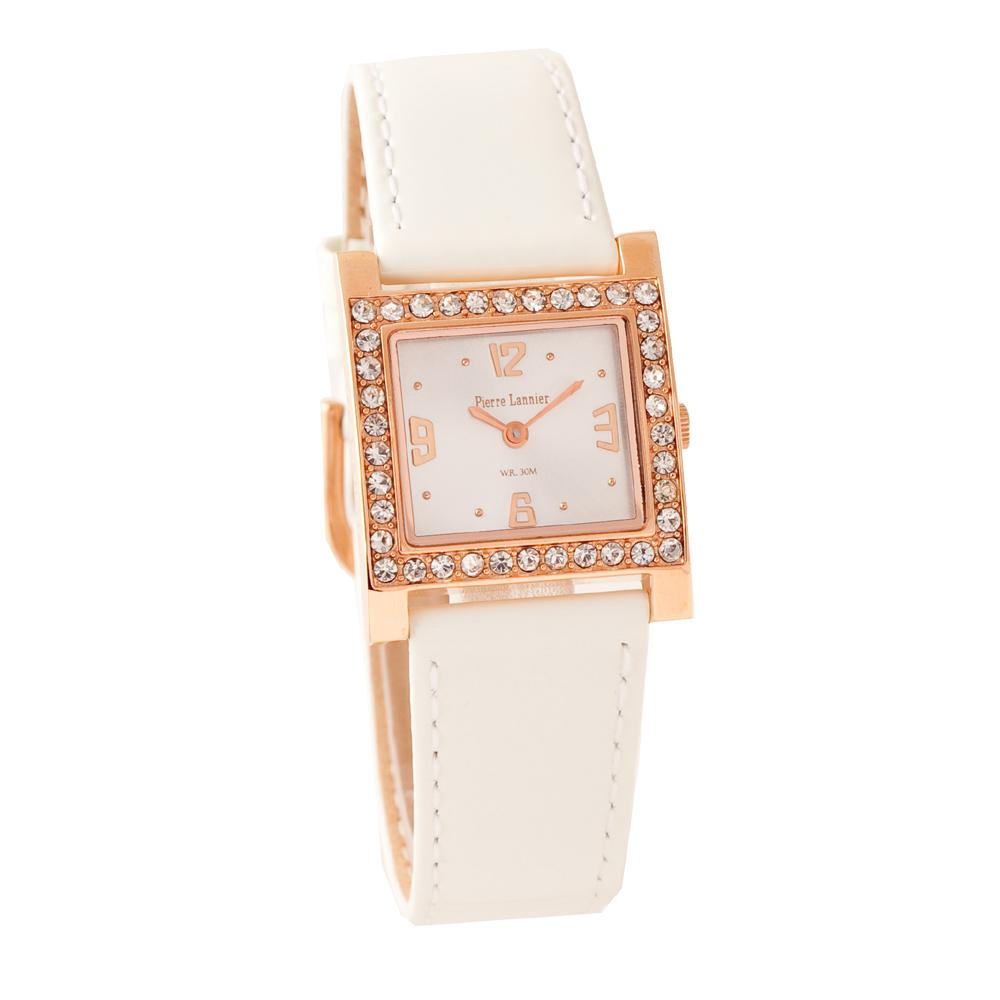 ピエールラニエ きらきら エナメルウォッチ レディース腕時計 ストーン 革ベルト 正方形 防水p048g590 p048g593
