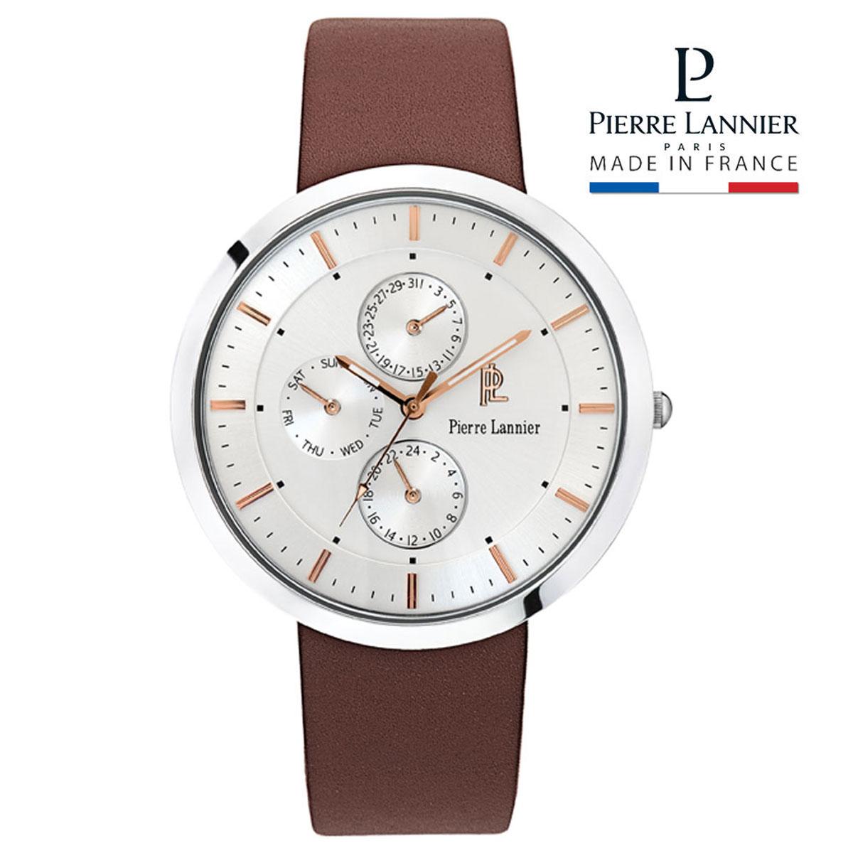 ピエールラニエ レザーウォッチP220Fモデル メンズ腕時計 丸型 マルチファンクション 防水P220F124 誕生日 プレゼント ご褒美 ギフト 記念日