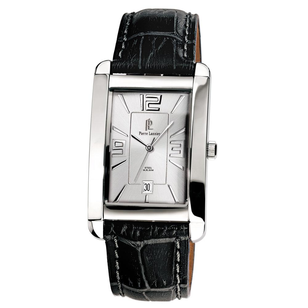 ピエールラニエ レザーウォッチP296Bモデル メンズ腕時計 シルバー レザーベルト スクエア 防水p296b123