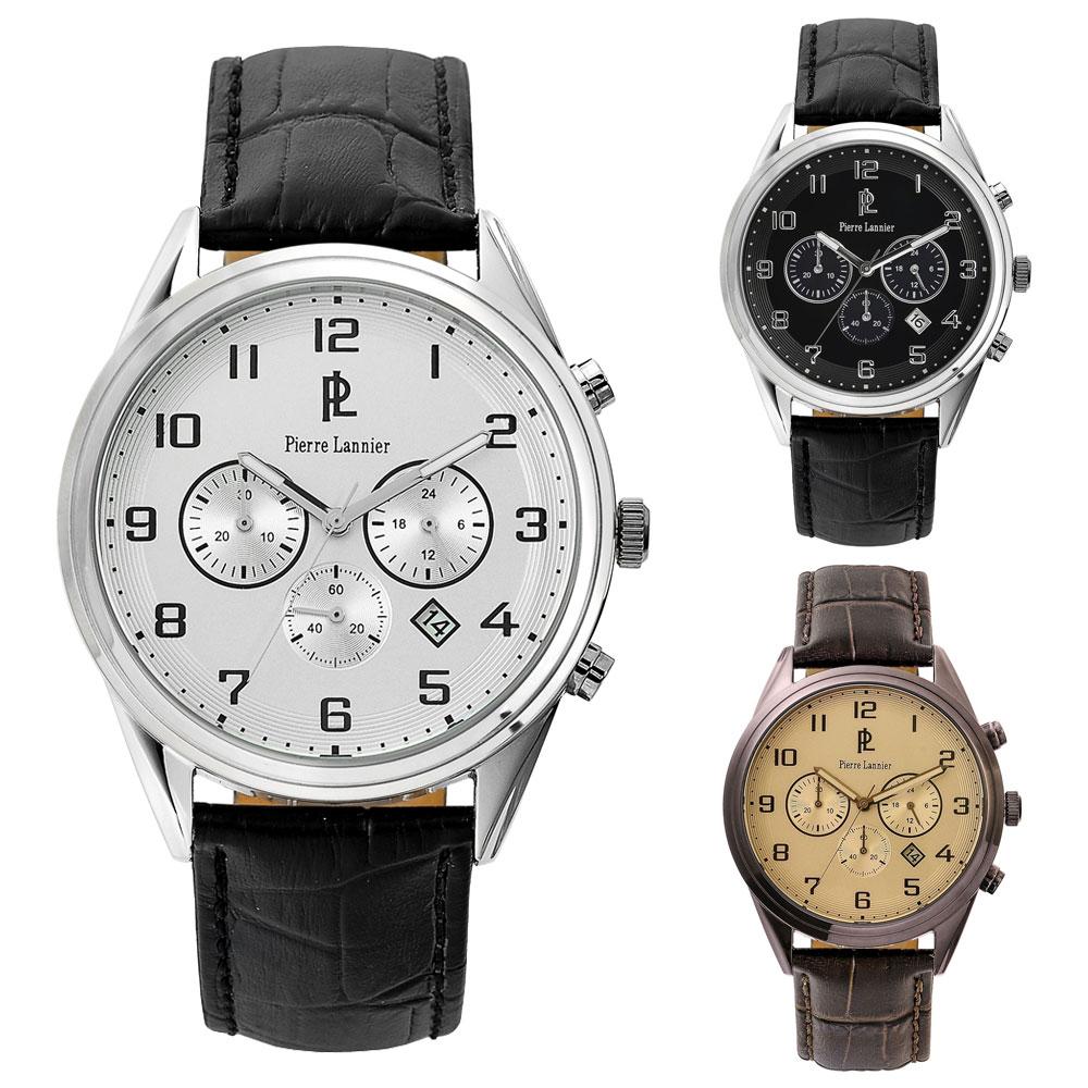 腕時計 メンズ ブランド ピエールラニエ クロノグラフウォッチP267Cモデル メンズ 腕時計 革ベルト クロノグラフ 丸型 防水p267c123 p267c133