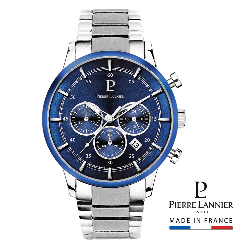 ピエールラニエ クロノグラフ ネイビー メタルベルト ウォッチ 丸型 防水 蓄光 P245Fモデルメンズ腕時計ブランドP245F161 誕生日 かっこいい プレゼント ご褒美 ギフト 記念日 送料無料