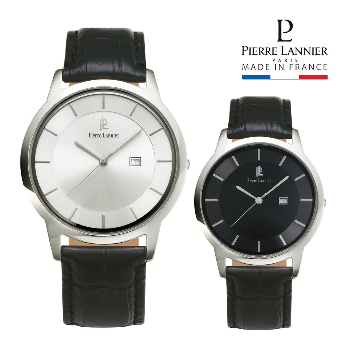 ピエールラニエ エクストラフラットレザーウォッチ メンズ腕時計ブランド 薄型 本革ベルト シルバー 丸型 防水p235c123 p235c133 ピエールラニエ メンズ 送料無料 フランス製 父の日 ラッピング無料