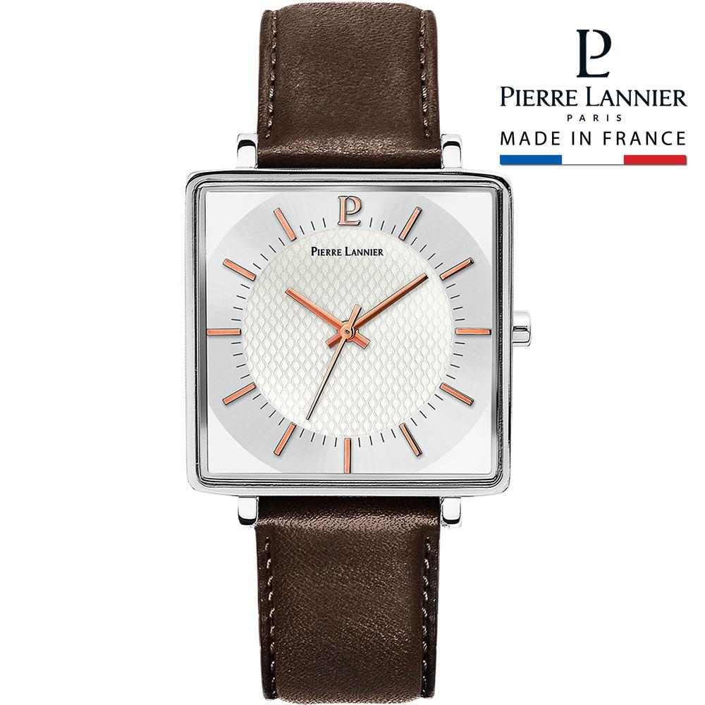腕時計 メンズ ブランド ピエールラニエ レカレコレクション レザーベルトウォッチ シルバー スクエア型 正方形 3気圧防水 ベルト 秒針 送料無料 p210f124 入学祝 父の日 母の日