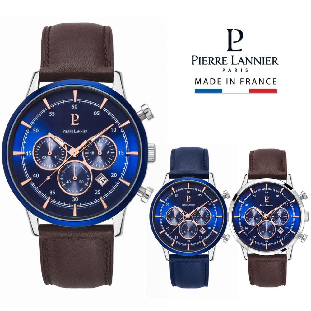 ピエールラニエ クロノグラフレザーウォッチ ネイビー メンズ腕時計 革ベルト 丸型 防水p224g164 p224g166 誕生日 プレゼント ご褒美 ギフト 記念日