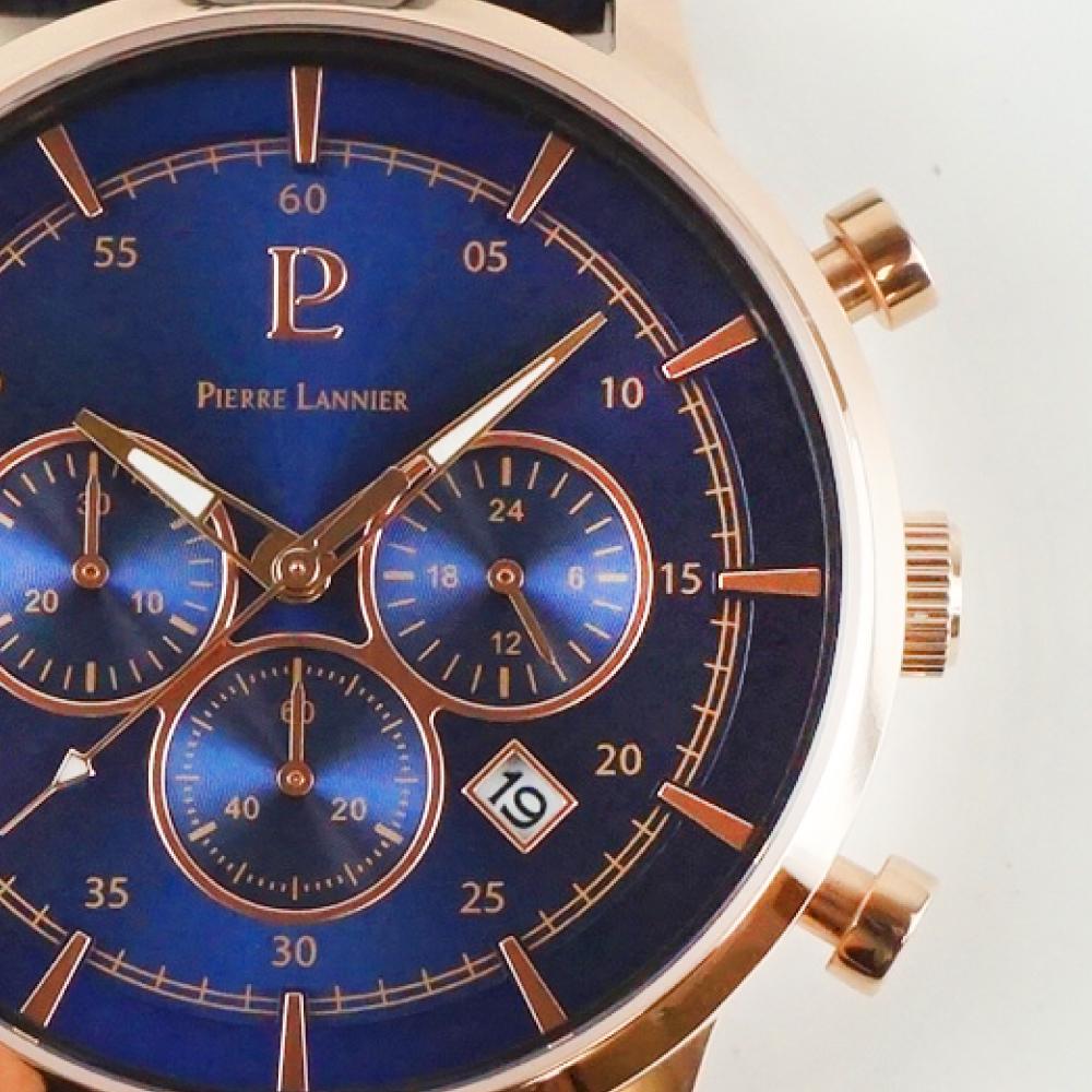 ピエールラニエ クロノグラフ ウォッチ メンズ腕時計 レザーベルト クロノグラフ ネイビー 丸型p225d466