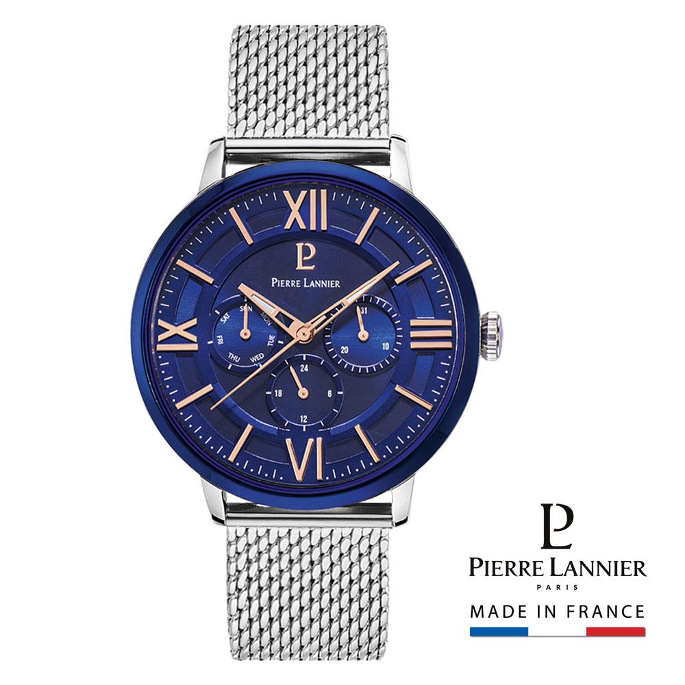 ピエールラニエ ナイトブルーウォッチ メンズ メッシュベルトマルチファンクション 丸型 防水 蓄光 連続秒針 P253Cモデルメンズ腕時計P253C168