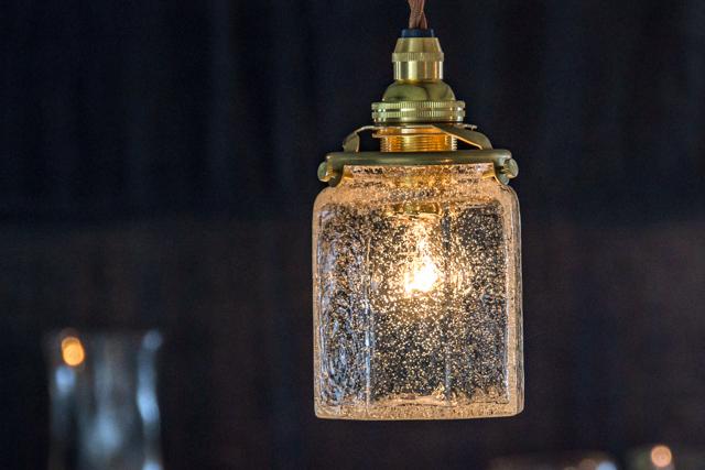 安土草多 吹きガラス ペンダントライト 八角筒瓶 泡 az-l06a ランプシェード ダイニング 作家物 北欧、アンティーク、レトロ調のお部屋にも