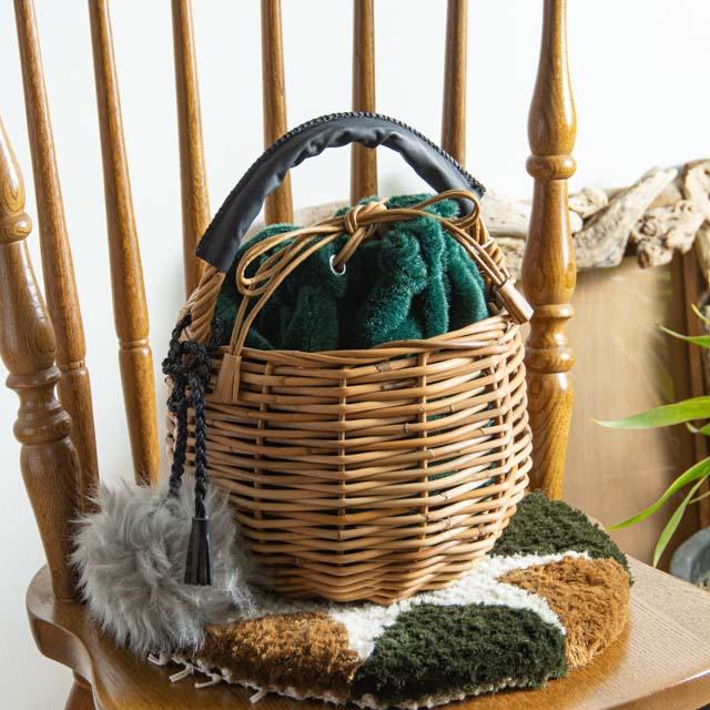 kargo 紅籐のかごバッグ 丸型01 ファー 巾着 冬 大人