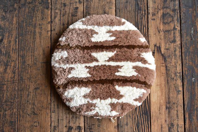 ノッティング織 椅子敷き 丸 小2 座布団 和風 北欧風 クッション 日本製 国産 ノッテイング