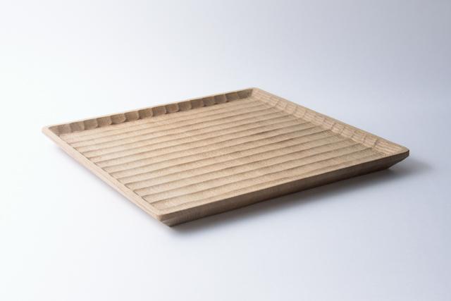 國武秀一 角盆 27cm 正方形 神代楡 木製 トレー 作家物 日本製