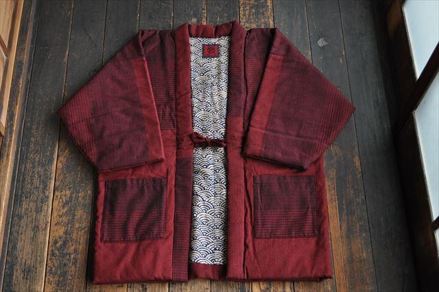 宮田織物 綿入れ半纏 折鶴袢天 赤 はんてん メンズ レディース 日本製 ちゃんちゃんこ おしゃれ