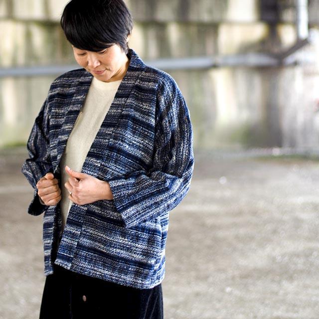 宮田織物 羽織 haori amatubu ネイビー ジャケット メンズ レディース 着物 カジュアル 普段着 男性 女性
