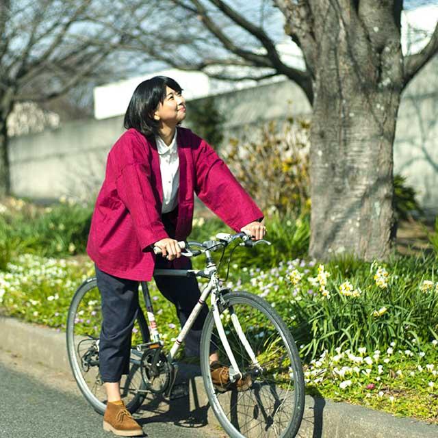 宮田織物 羽織 haori nagomi レッド ジャケット メンズ レディース 着物 カジュアル 普段着 男性 女性