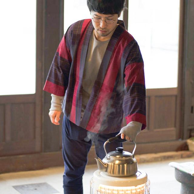 宮田織物 羽織 haori tuzumibosi レッド ジャケット メンズ レディース 着物 カジュアル 普段着 男性 女性