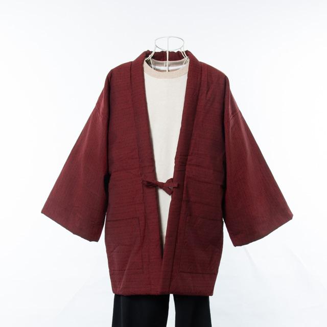 宮田織物 綿入れ半纏 麻の葉袢天(あさのは) 赤 はんてん メンズ レディース 日本製 ちゃんちゃんこ おしゃれ