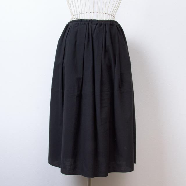 うなぎの寝床 久留米絣のスカート 無地 ブラック 洋服