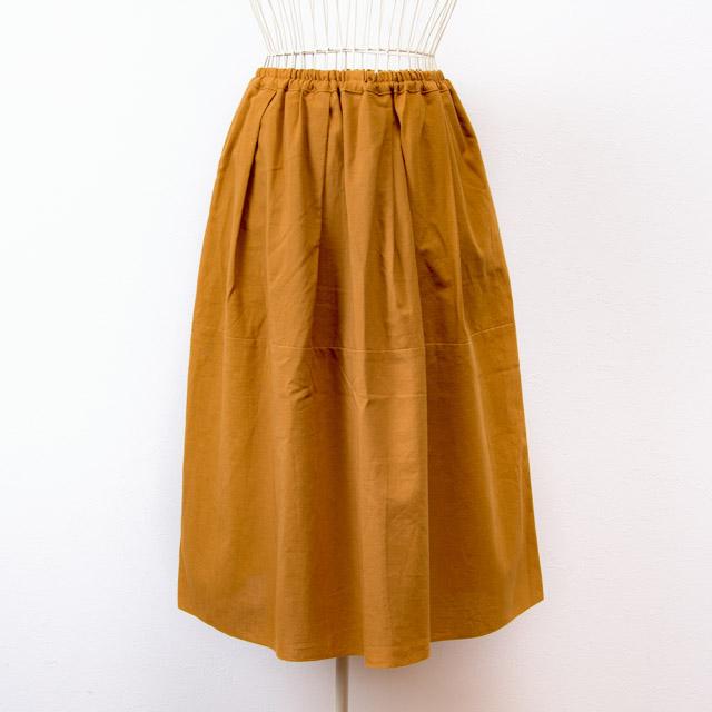 うなぎの寝床 久留米絣のスカート 無地 ベージュ 洋服