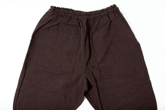 うなぎの寝床 もんぺ 久留米絣 無地 厚手 アースカラー ブラウン メンズ レディース 日本製 パンツ お洒落 おしゃれ