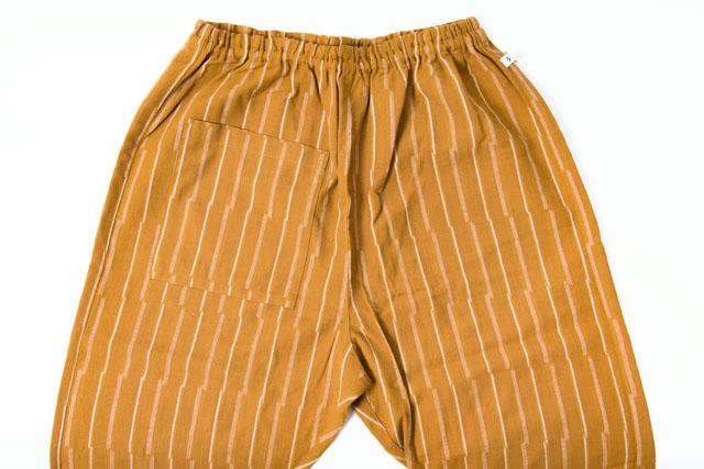 ベージュ メンズ パンツ 日本製 おしゃれ もんぺ うなぎの寝床 レディース 久留米絣 ずらしストライプ 薄手 お洒落