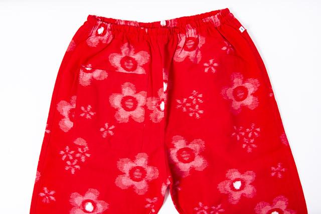 うなぎの寝床 もんぺ 久留米絣 花柄 薄手 レッド メンズ レディース 日本製 パンツ お洒落 おしゃれ