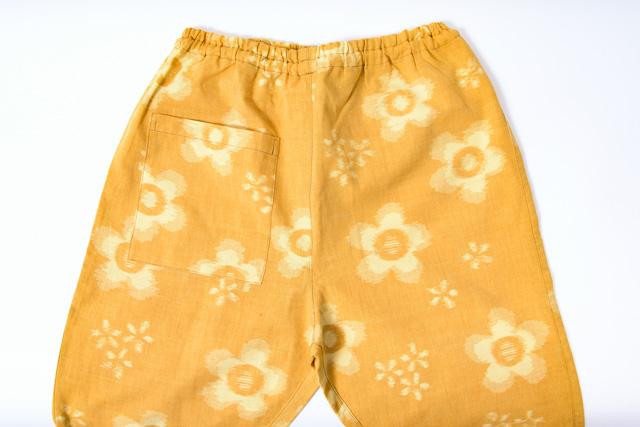 うなぎの寝床 もんぺ 久留米絣 花柄 薄手 イエロー メンズ レディース 日本製 パンツ お洒落 おしゃれ