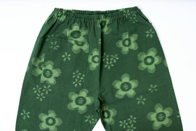 うなぎの寝床 もんぺ 久留米絣 花柄 薄手 グリーン メンズ レディース 日本製 パンツ お洒落 おしゃれ