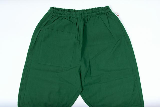 無地 うなぎの寝床 久留米絣 もんぺ グリーン パンツ 日本製 おしゃれ レディース 薄手 お洒落 メンズ