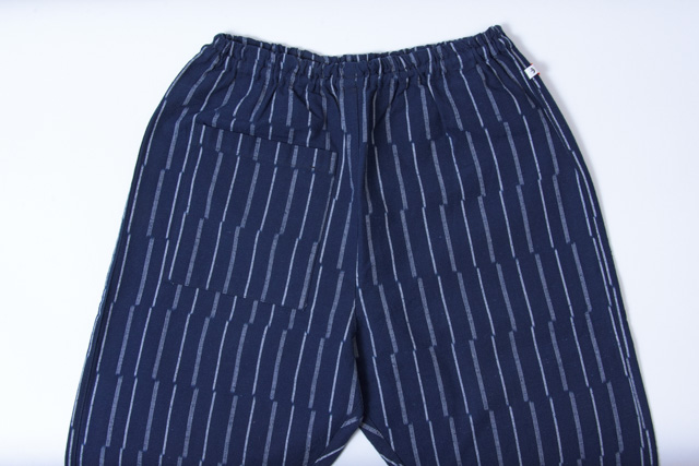 うなぎの寝床 もんぺ 久留米絣 ずらしストライプ 厚手 ブルー メンズ レディース 日本製 パンツ お洒落 おしゃれ