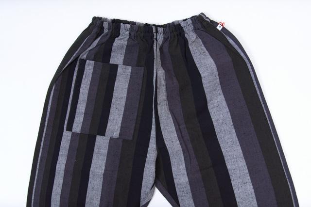 おしゃれ グレイ 日本製 パンツ 中厚手 お洒落 久留米絣 もんぺ レディース カツオ縞 メンズ うなぎの寝床