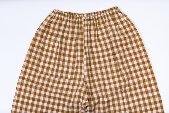 うなぎの寝床 もんぺ 久留米絣 ギンガムチェック 薄手 イエロー メンズ レディース 日本製 パンツ お洒落 おしゃれ