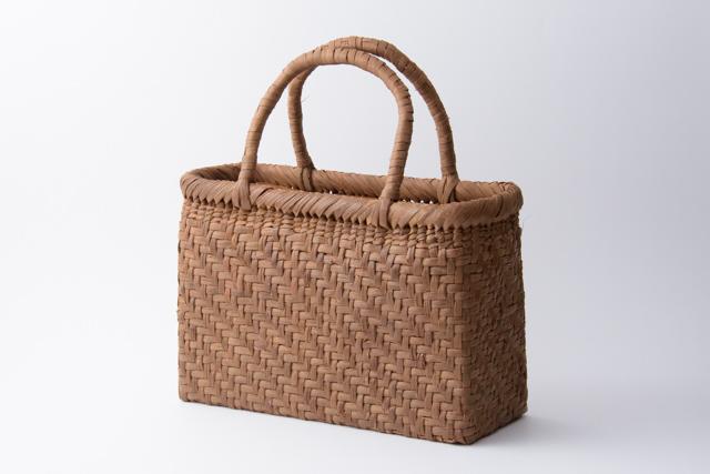 山葡萄 かごバッグ 国産 日本製 網代編み 手提げ中1 籠バッグ 上カバー、内布、ポケット付 手編み 国産 日本製 籠バッグ