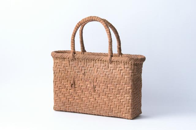 山葡萄かごバッグ 手提げ 網代編み 内麻布01 内ポケット付 国産 日本製 籠バッグ