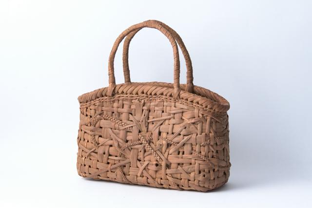 山葡萄かごバッグ 手提げ みだれ編み02 内布、内ポケット付 国産 日本製 籠バッグ