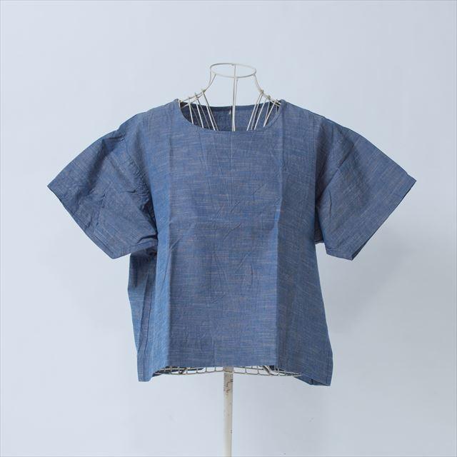 ヤンマ産業 会津木綿Tシャツ 銀青