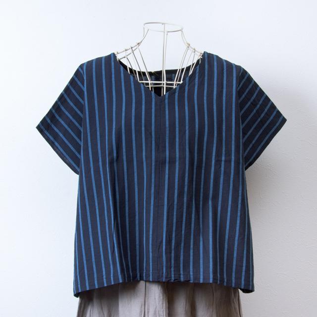 ヤンマ産業 会津木綿の前後で着られるVネックシャツ 大名縞 YAMMA コットン