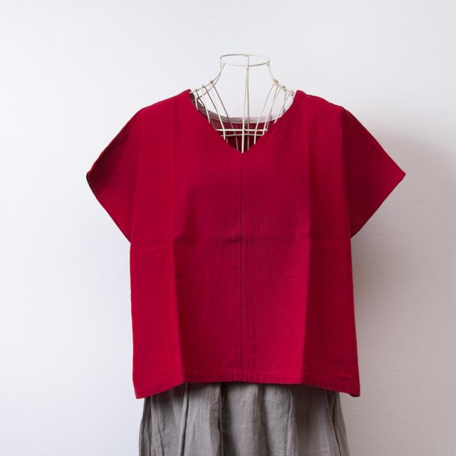ヤンマ産業 会津木綿の前後で着られるVネックシャツ 赤 YAMMA コットン