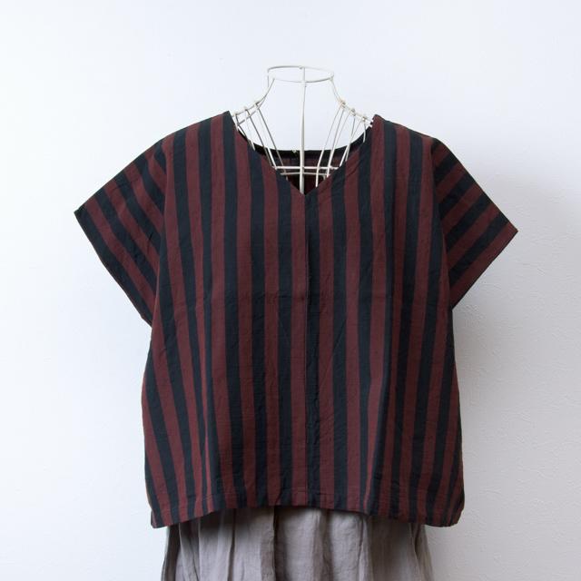 ヤンマ産業 会津木綿の前後で着られるVネックシャツ おさむ縞赤紺 YAMMA コットン