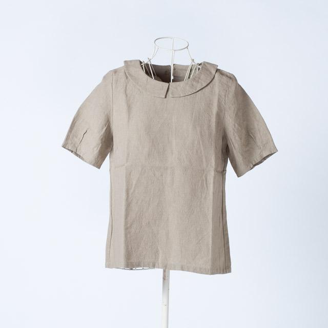 ヤンマ産業 リネン丸襟半袖ブラウス サンドベージュ YAMMA ME-SH