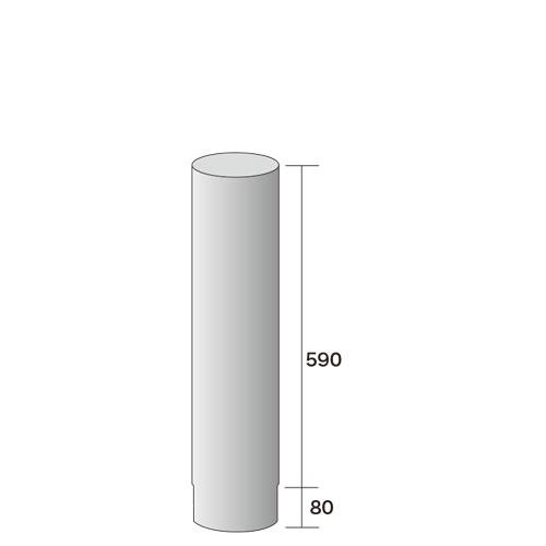 薪ストーブ用煙突φ152直煙筒590mm307-2