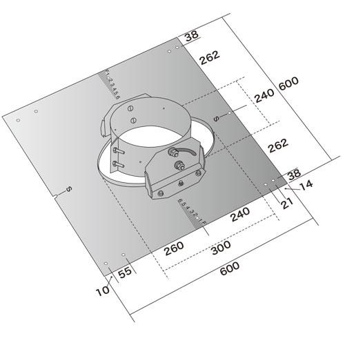 薪ストーブ煙突用 ルーフサポートα水平~6寸勾配用