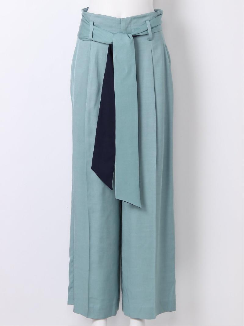 [Rakuten Fashion]バイカラーベルトハイウエストPT FRAY I.D フレイ アイディー パンツ/ジーンズ パンツその他 ブルー ブラウン ホワイト【送料無料】