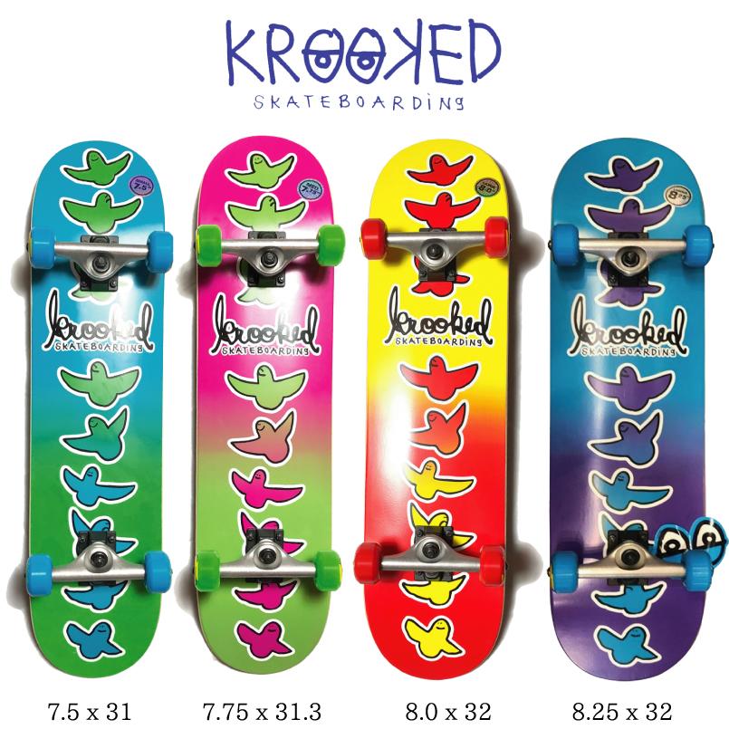 スケートボード KROOKED クルキッドBIRDICAL FADES コンプリートセット skateboard complete スケボー 完成品 初心者 初級者あす楽 送料無料