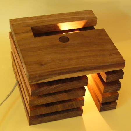木製照明/デザインライト/光のサンドウィッチ?スリットを回転させて美しい光と影の演舞/エルウィッチ/DS-018DB/インテリア照明のフレッヒダックス