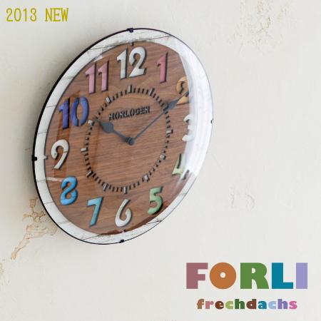 カラフル&ナチュラル 文字盤にカッティングされた数字が可愛らしい掛け時計 フォルリ FORLI インターフォルム CL-8332 インテリア リビング ダイニング キッチン 壁時計 ウォールクロック カラフル かわいい ラッピング対応